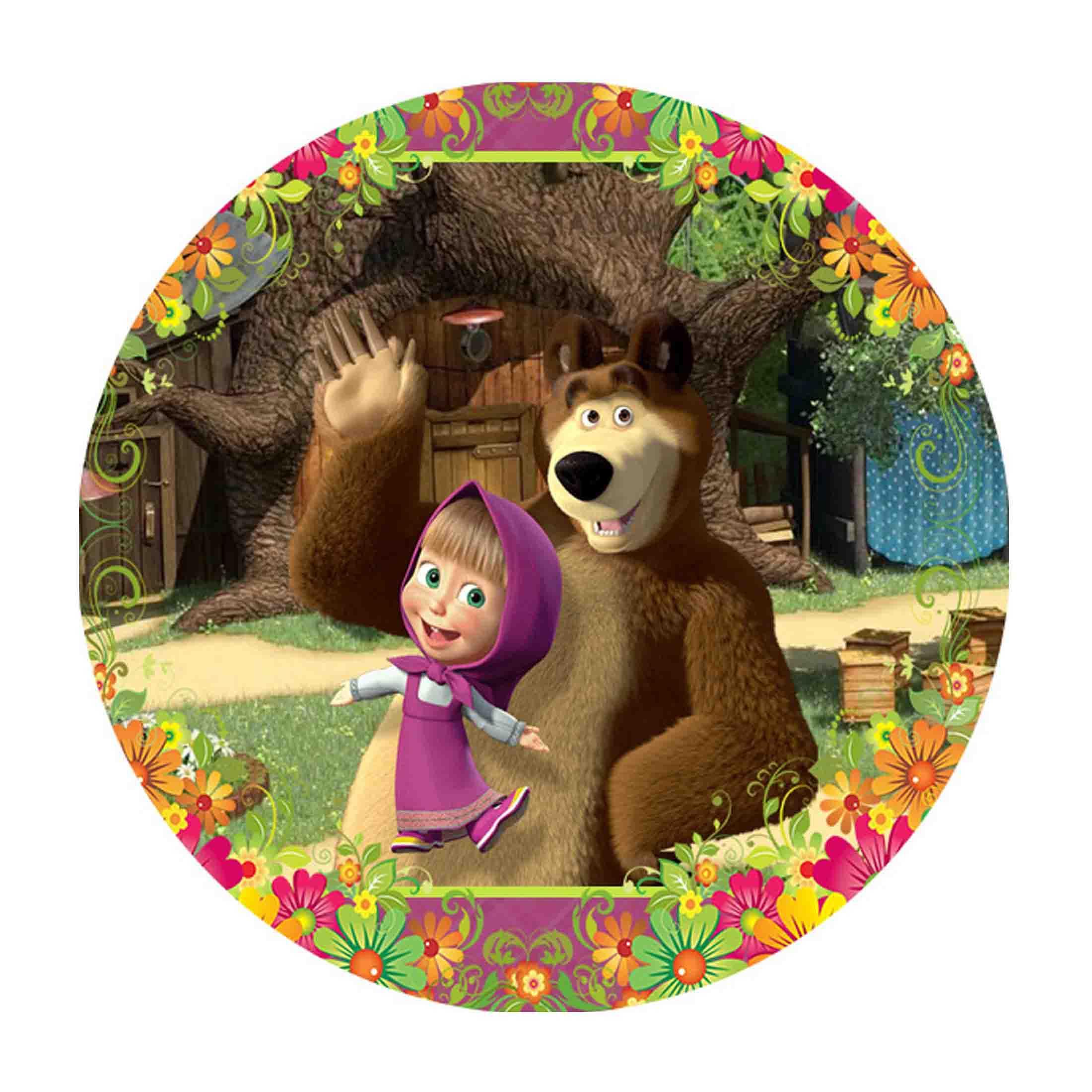 Editable Masha and the Bear Round Label DIY