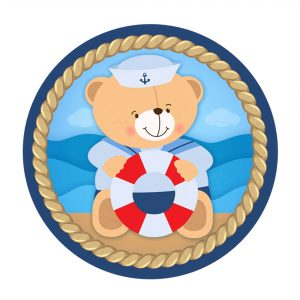 Free Nautical Teddy Bear Round Label Free Nautical Teddy Bear Letter Banner Free Nautical Teddy Bear Bottle Label to Edit and Print