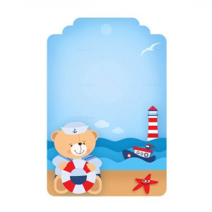 Free Nautical Teddy Bear Tag Template to edit and print