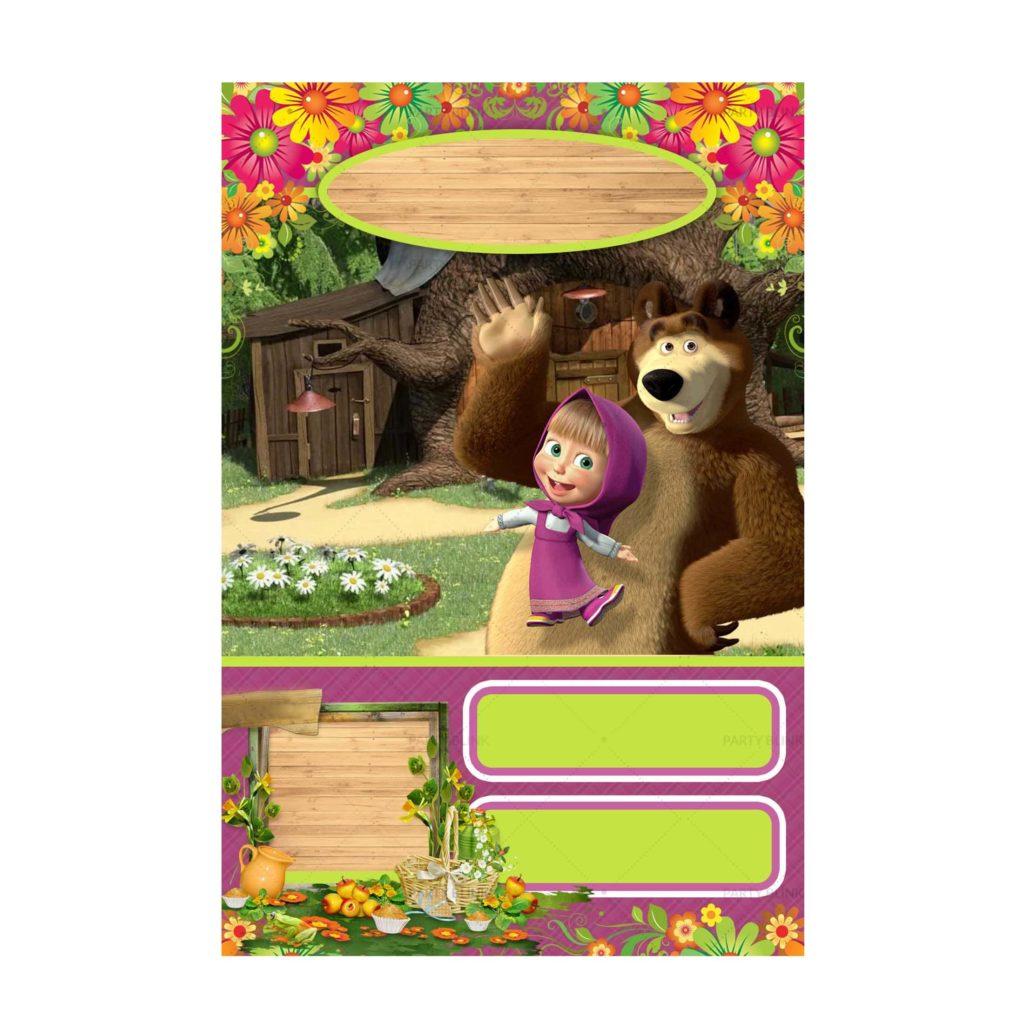 Customizable Masha and the Bear Invitation Template free