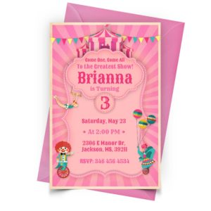 Customize Circus Pink Invitation Online