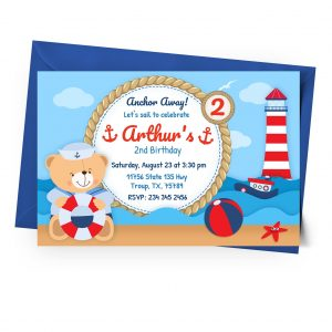 Printable Nautical Invitation to customize online - Digital JPG PNG PDF Low cost