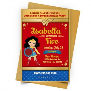 Customize Wonder Woman Invitation Online