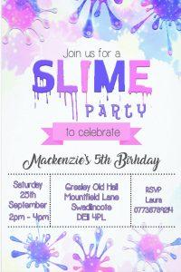 Slime Birthday Invitation