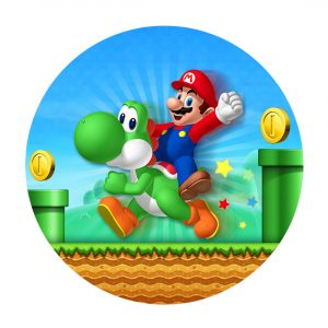 Free Super Mario Round Label