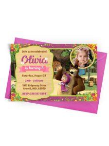 Invitation Template Masha and the Bear with Photo