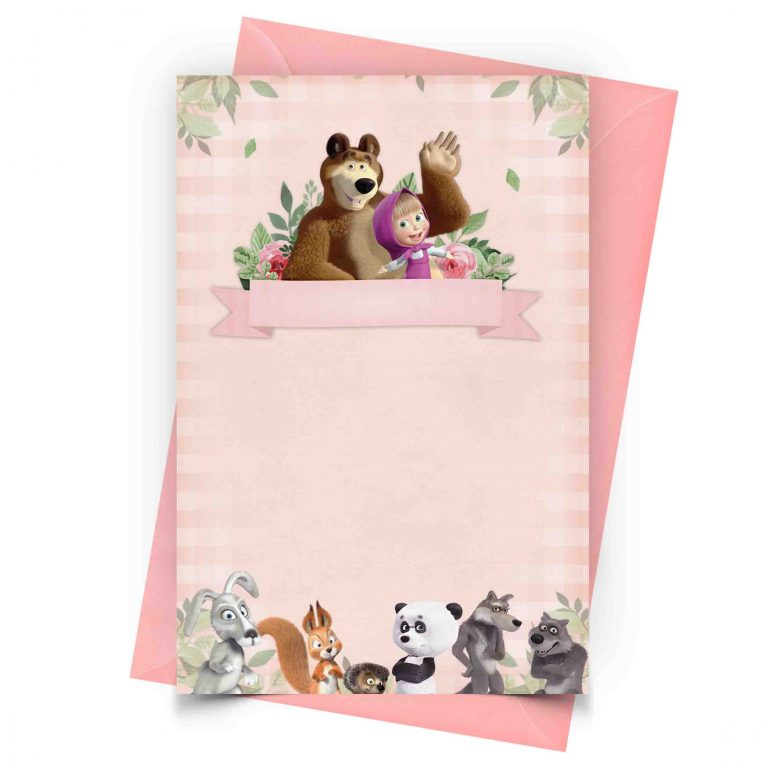 Customizable Masha and the Bear Invitation Online 1