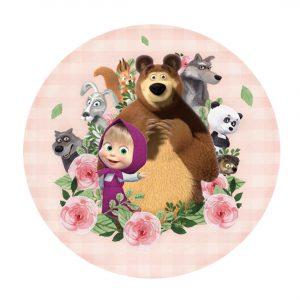 Free Masha and the Bear Round Label