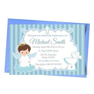 Blue Angel Baptism Invitation Personalized