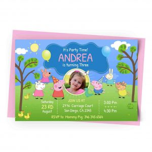 Peppa Pig Personalized Invitation with Photo 1