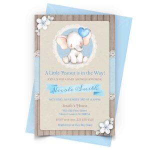 Blue Elephant Baby Shower Invitation Personalized 1