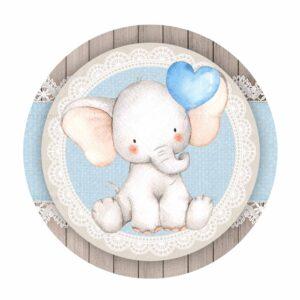 Free Blue Elephant Baby Shower Round Label