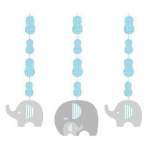 Blue Elephant Baby Shower Hanging Cutouts