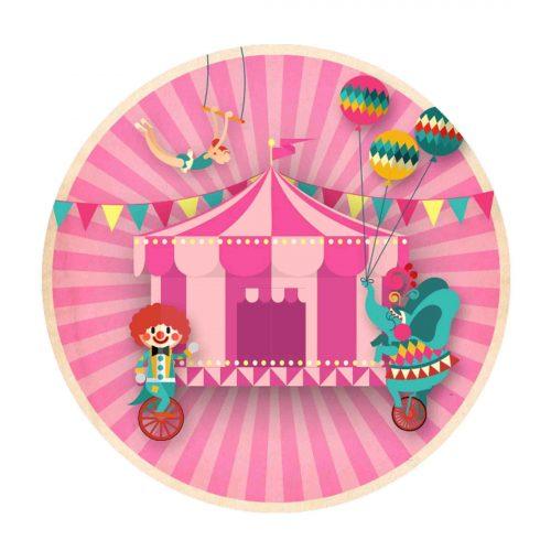 Circus Round Label