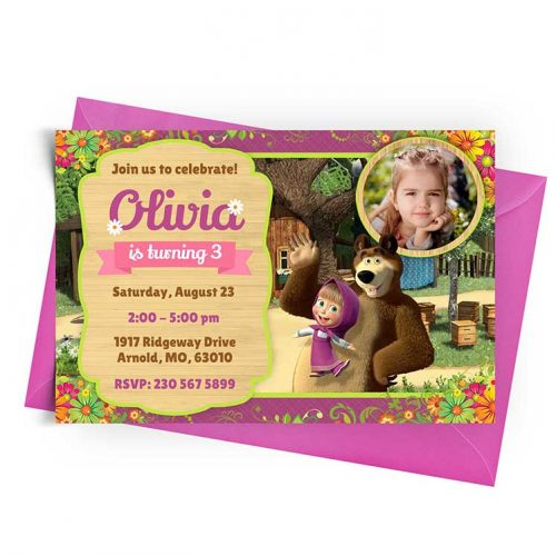 Invitation Template Masha and the Bear with Photo