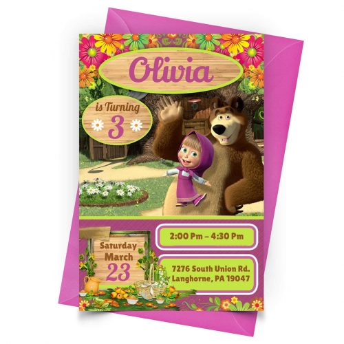 Customizable Masha and the Bear Invitation Online