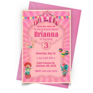 Customize Circus Pink Invitation Online