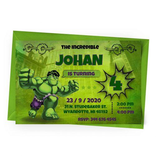 Customize Hulk Invitation Online