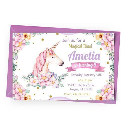 Customize Unicorn Invitation online