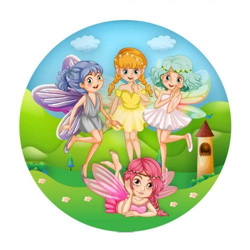 Fairies Round Label