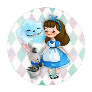 Free Alice in Wonderland Round Label