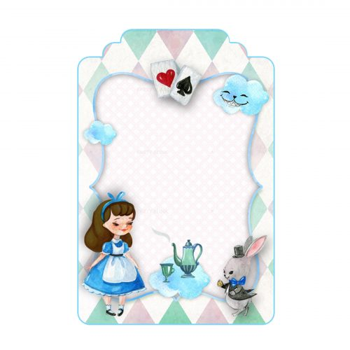 Free Alice in Wonderland Editable tag template download