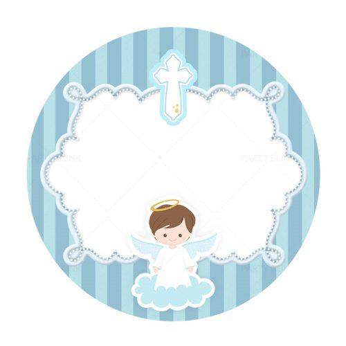 Free Blue Angel Baptism Round Label