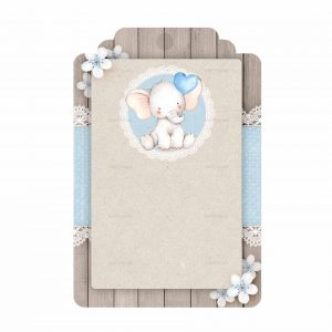 Free Blue Elephant Baby Shower Tag