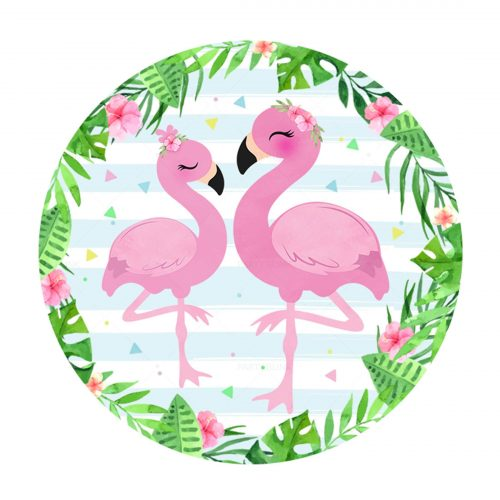 Free Flamingo Round Label