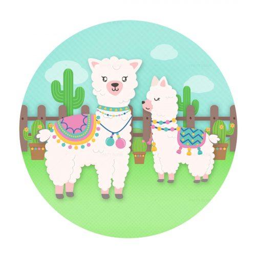 Free Lhama Printables - Free Llama Round Label