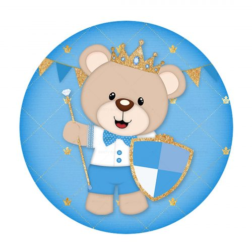 Free Royal Teddy Bear Round Label