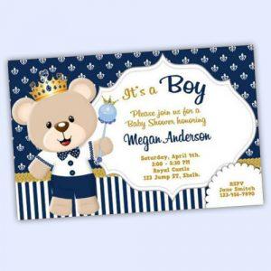 Prince Teddy Bear Invitation