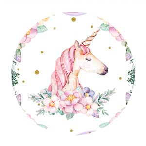 Editable Unicorn Round Label - Party Blink