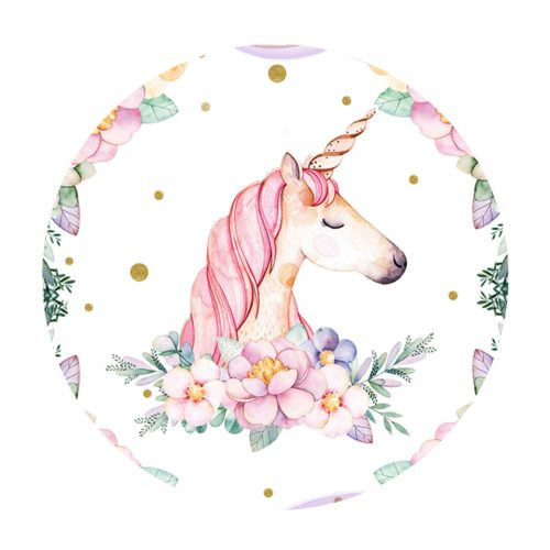Editable Unicorn Round Label - Party Blink