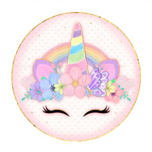 Unicorn Round Label Free - Party Blink